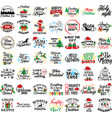 set christmas quotes holiday vector image