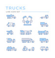 set color line icons trucks vector image vector image