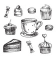 set hand drawn dessert icons design vector image