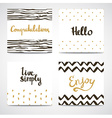 Set of abstract cards in gold white and black vector image