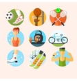 set sport icons in flat design vector image vector image