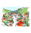 sketch of mountain landscape with georgian town vector image vector image