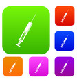 syringe with liquid set color collection vector image vector image