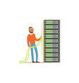 system administrator server admin working with vector image vector image