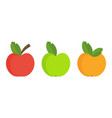 three color apple set flat cartoon vector image