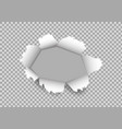 torn paper hole with rip edge white torn paper on vector image