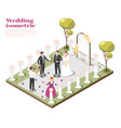 wedding ceremony isometric composition vector image vector image