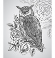 wild totem animal - Owl with roses vector image