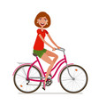 young beautiful girl riding bicycle sport vector image vector image