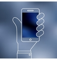 Linear of Smartphone on hand icon vector image