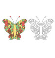 zentangle coloring book butterfly vector image