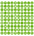 100 sport team icons hexagon green vector image vector image