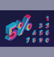 5 percent sale 0 1 2 3 4 5 6 7 8 9 isometric 3d vector image vector image