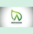a leaf logo letter design with green leaf outline vector image vector image