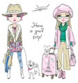 beautiful fashion girls travel the world vector image vector image