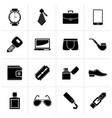 black male accessories and clothes icons vector image