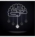 Brain with light bulbs vector image vector image
