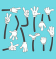 Cartoon arms doodle gloved pointing hands
