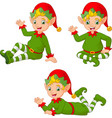 cartoon christmas elves in different poses vector image vector image