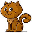 cartoon cute sitting little brown cat icon vector image