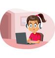 cartoon girl wearing headphones using laptop vector image
