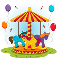children carousel with horses vector image vector image