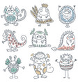 collection of colorful funny monsters cute vector image