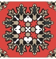 Colorful ornament of square mandala on a dark red vector image vector image