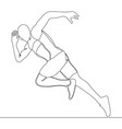 continuous one line drawing of athlete running vector image vector image