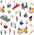 coworking people and equipment 3d seamless pattern vector image vector image