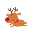cute cartoon reindeer with red nose sleep cartoon vector image vector image