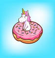 cute unicorn and donuts vector image vector image