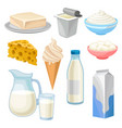 dairy products set butter yogurt bowl of sour vector image vector image