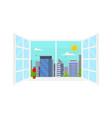 daytime urban landscape in window scene concept vector image vector image