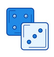 dice cubes line icon vector image vector image