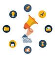 digital marketing hand holding megaphone campaign