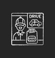 drive through window chalk white icon on black vector image vector image