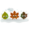 fallen leaves with big eyes on a snow hello vector image vector image