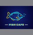 fish neon fresh glowing icon symbol templates vector image vector image