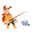 fisherman caught fish vector image vector image