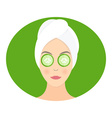 Flat design of a woman with mask of cucumber on vector image vector image