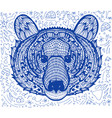 geometric hand drawn patterned head bear vector image vector image
