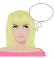 girl blonde thinks white bg vector image vector image