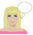 girl the blonde thinks white bg vector image vector image
