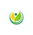 green leaf people vegetarian logo vector image vector image