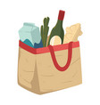grocery shopping food in paper bag or textile vector image