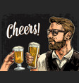 hipster holding glass of beer and clinking vector image vector image
