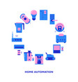 home automation round frame banner with place for vector image