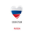 inscription russia logo with heart vector image