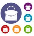 little woman bag icons set vector image vector image